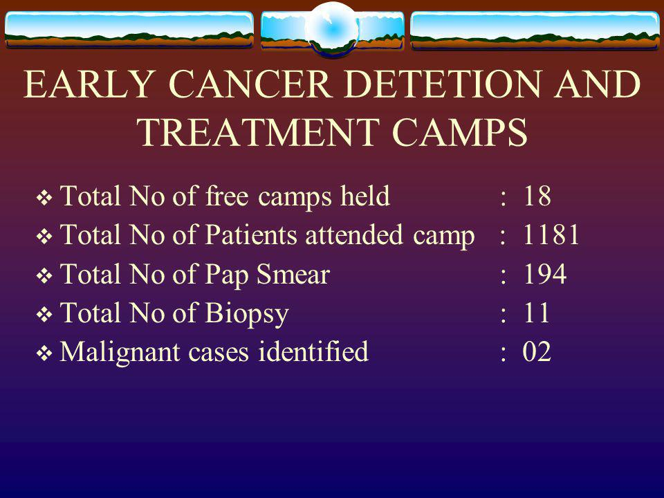 EARLY CANCER DETETION AND TREATMENT CAMPS