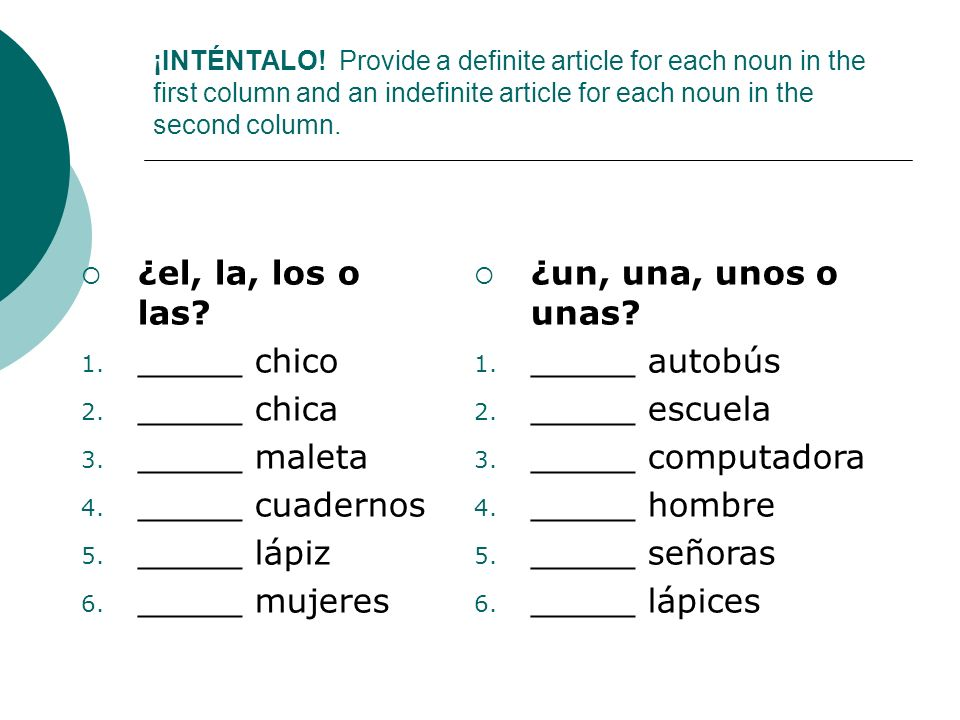 ¿el, la, los o las _____ chico _____ chica _____ maleta