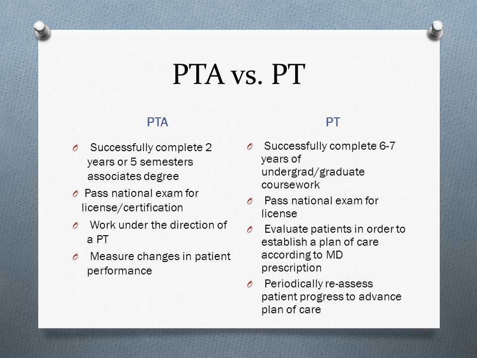 PTA vs. PT PTA. PT. Successfully complete 2 years or 5 semesters associates degree. Pass national exam for license/certification.