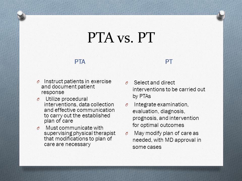 PTA vs. PT PTA. PT. Instruct patients in exercise and document patient response.
