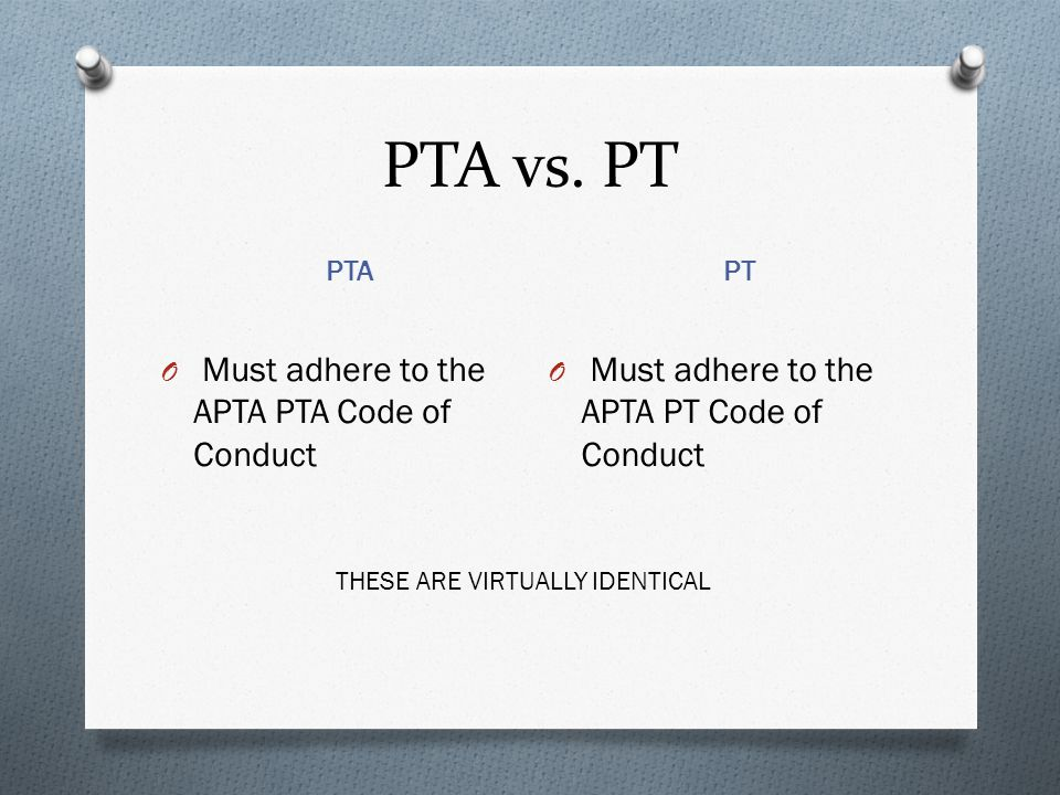 PTA vs. PT Must adhere to the APTA PTA Code of Conduct