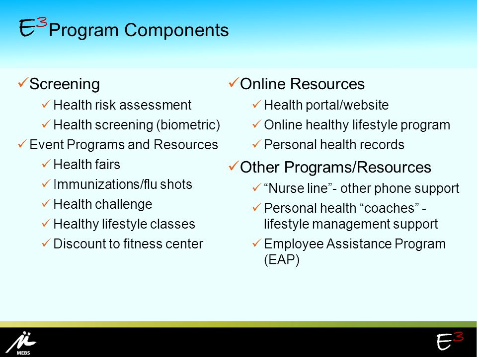 E3Program Components Screening Online Resources