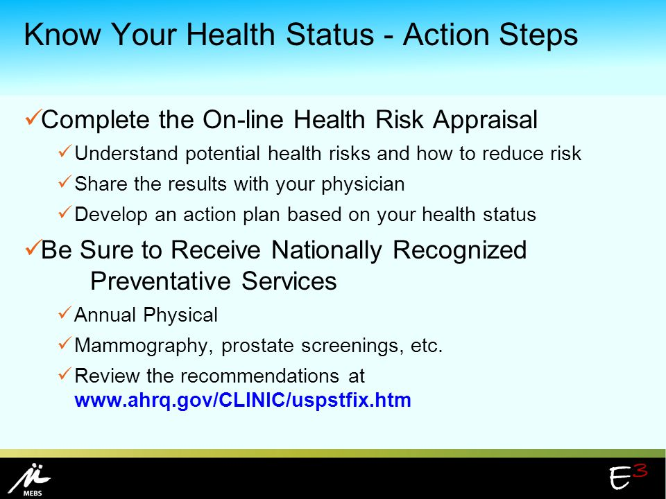 Know Your Health Status - Action Steps