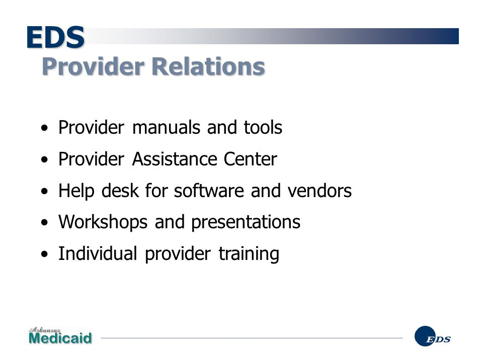 EDS Provider Relations Provider manuals and tools