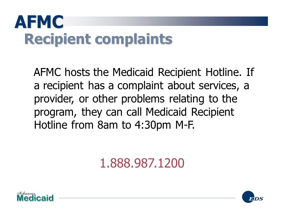 AFMC Recipient complaints 1.888.987.1200