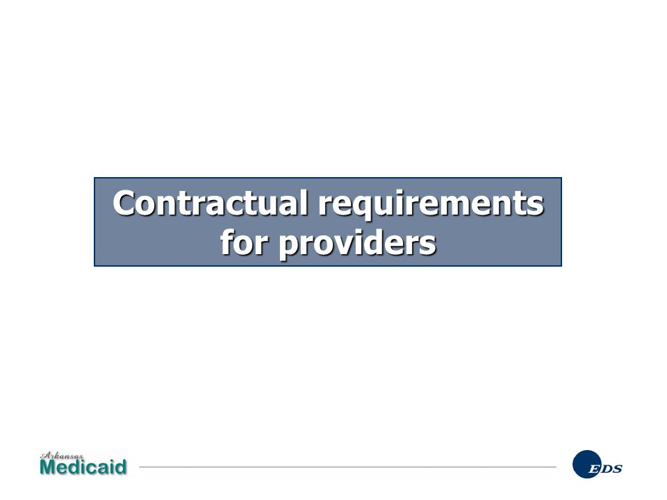 Contractual requirements for providers