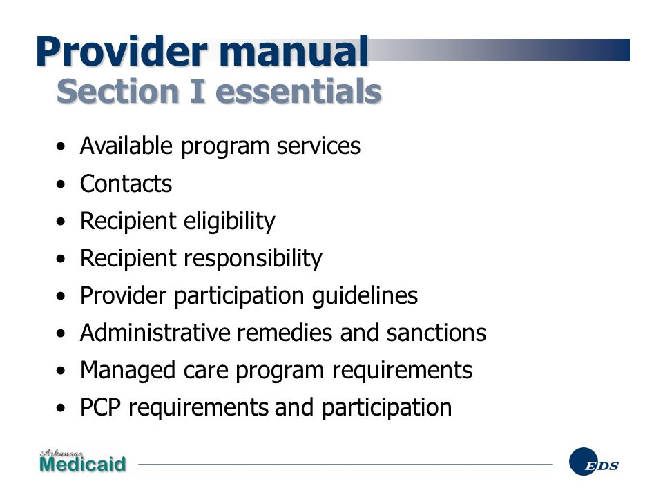 Provider manual Section I essentials Available program services