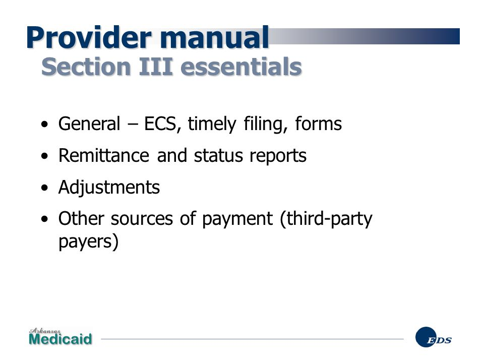 Provider manual Section III essentials