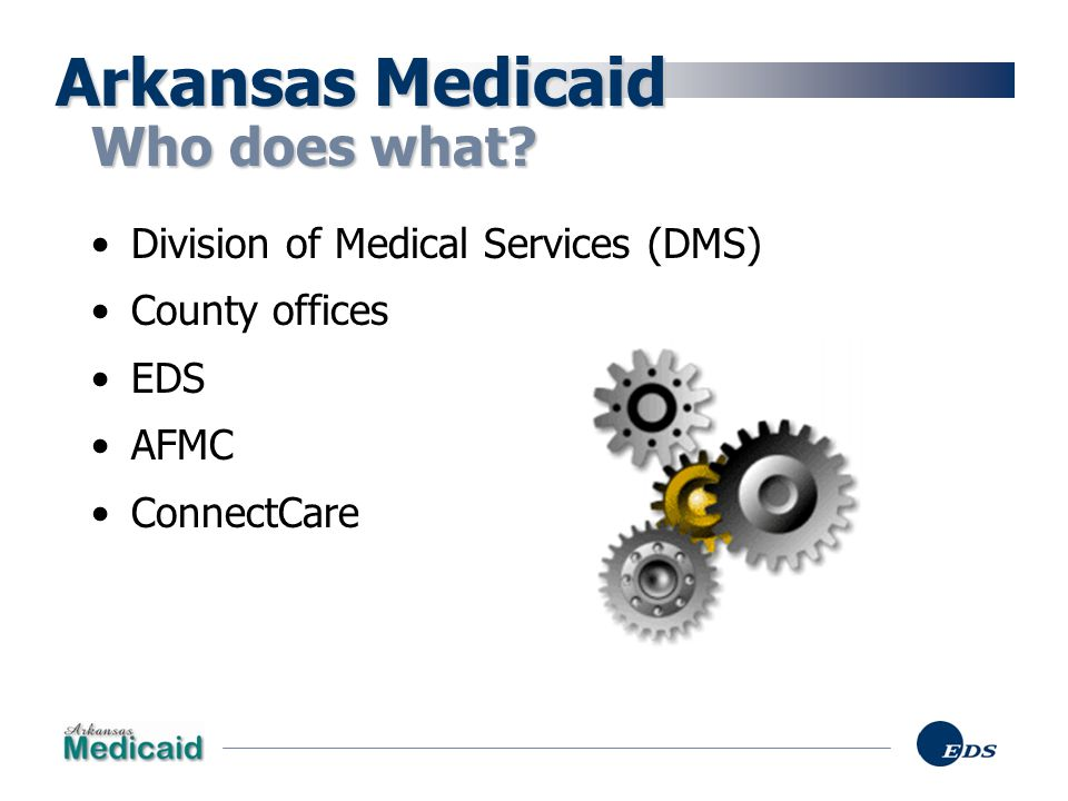 Arkansas Medicaid Who does what Division of Medical Services (DMS)
