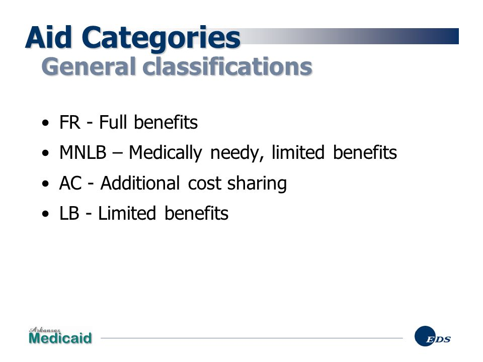Aid Categories General classifications FR - Full benefits