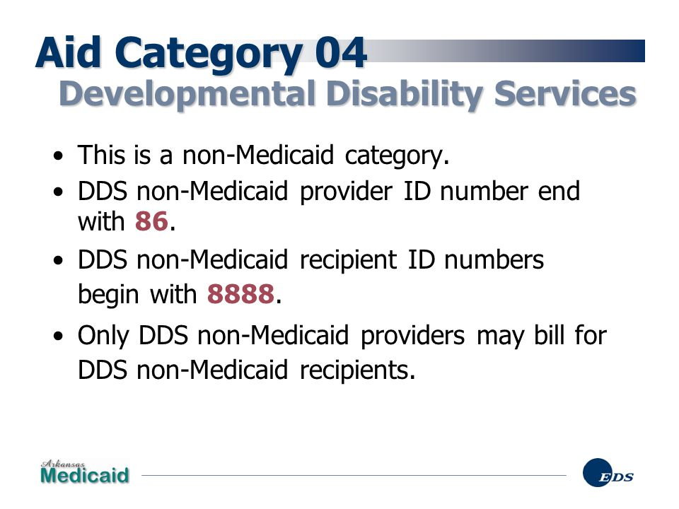Aid Category 04 Developmental Disability Services