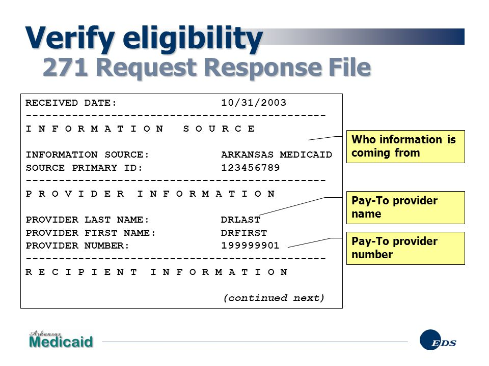Verify eligibility 271 Request Response File RECEIVED DATE: 10/31/2003