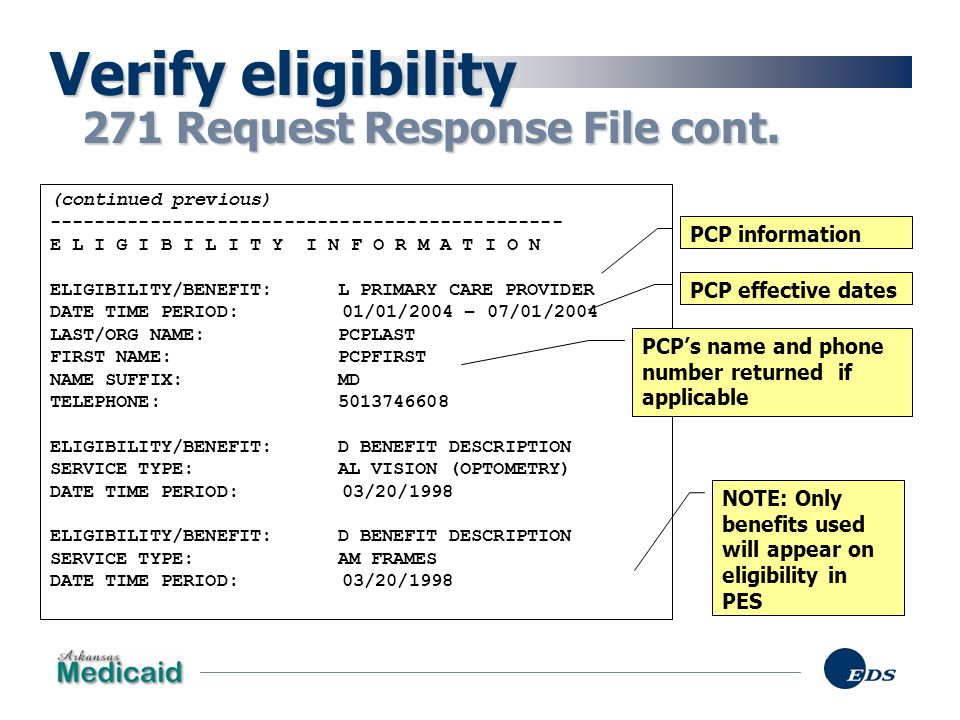 Verify eligibility 271 Request Response File cont. PCP information