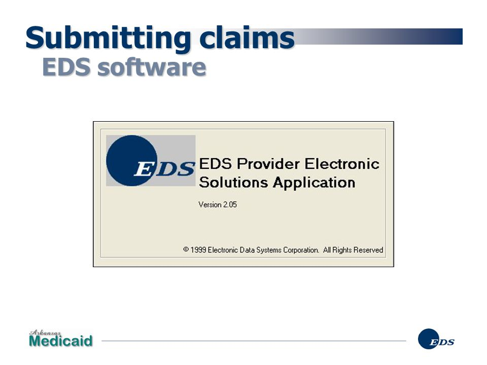 Submitting claims EDS software