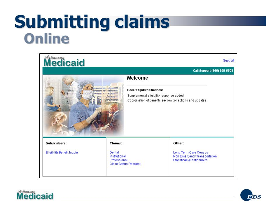 Submitting claims Online