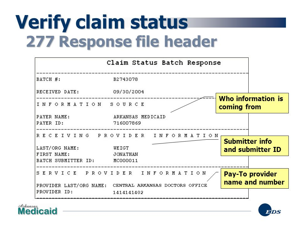 Verify claim status 277 Response file header