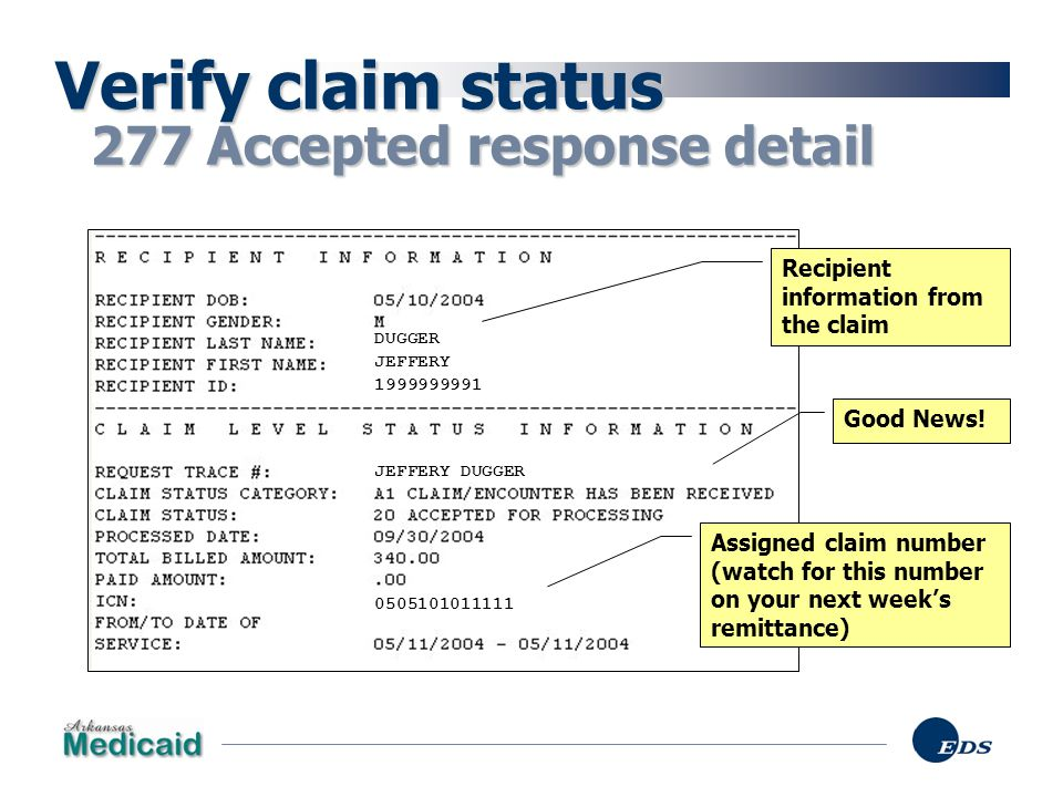 Verify claim status 277 Accepted response detail