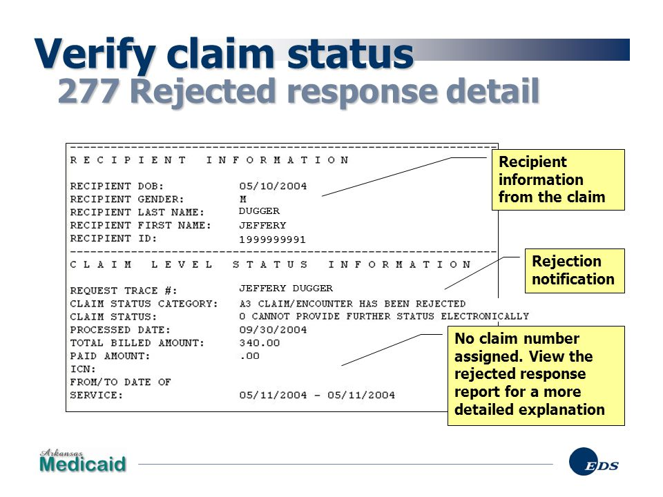 Verify claim status 277 Rejected response detail