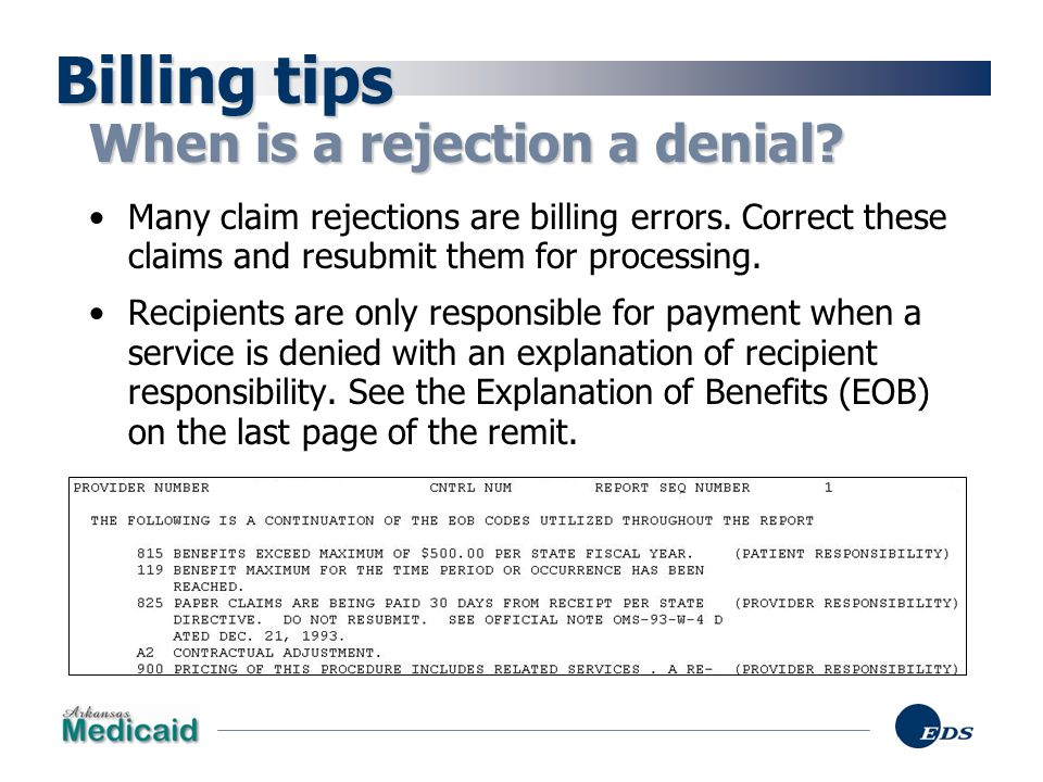 Billing tips When is a rejection a denial