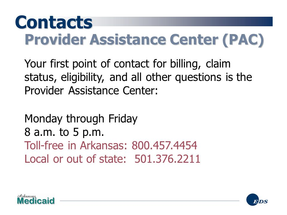 Contacts Provider Assistance Center (PAC)