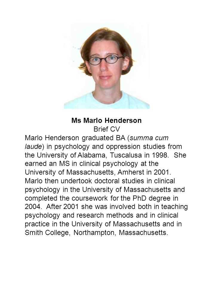 Ms Marlo Henderson Brief CV.
