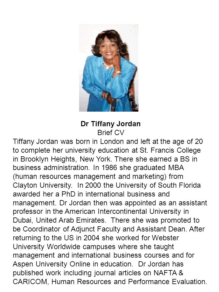 Dr Tiffany Jordan Brief CV.