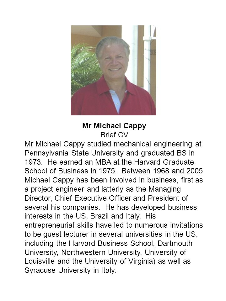 Mr Michael Cappy Brief CV.