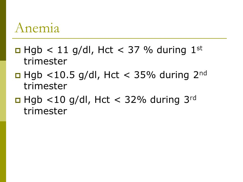 Anemia Hgb < 11 g/dl, Hct < 37 % during 1st trimester