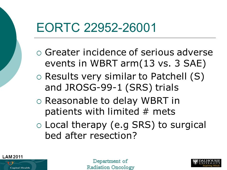 EORTC Greater incidence of serious adverse events in WBRT arm(13 vs. 3 SAE)