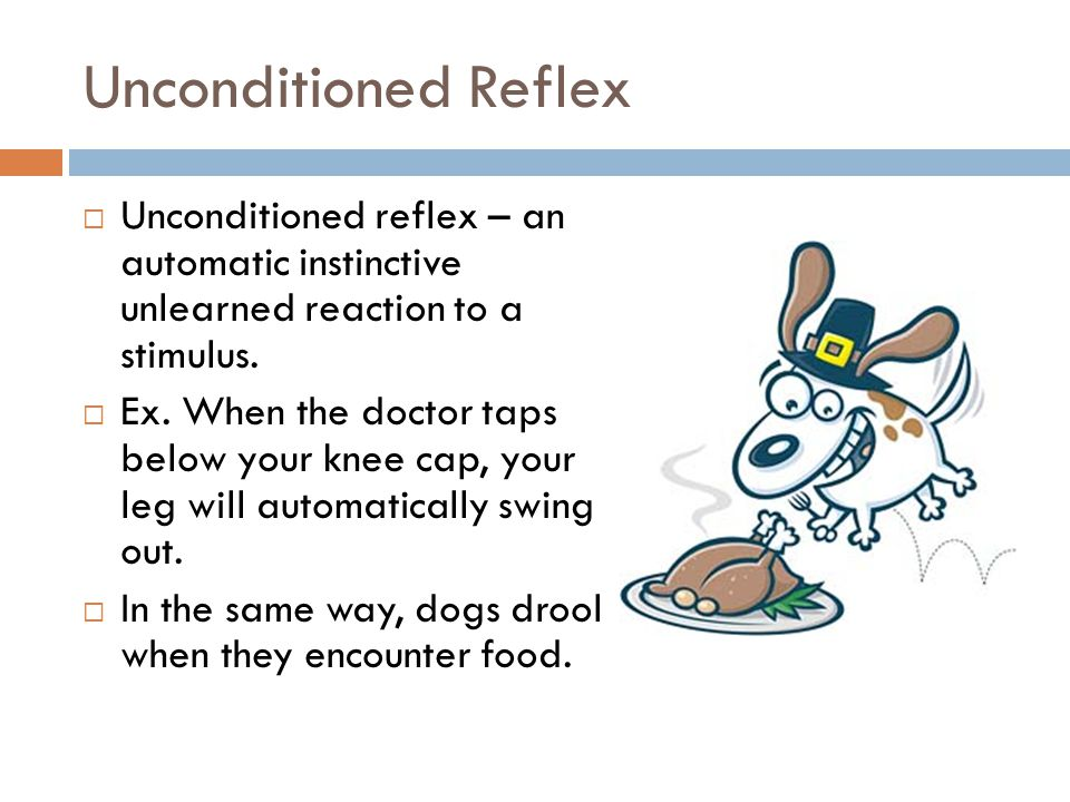 Unconditioned Reflex Unconditioned reflex – an automatic instinctive unlearned reaction to a stimulus.