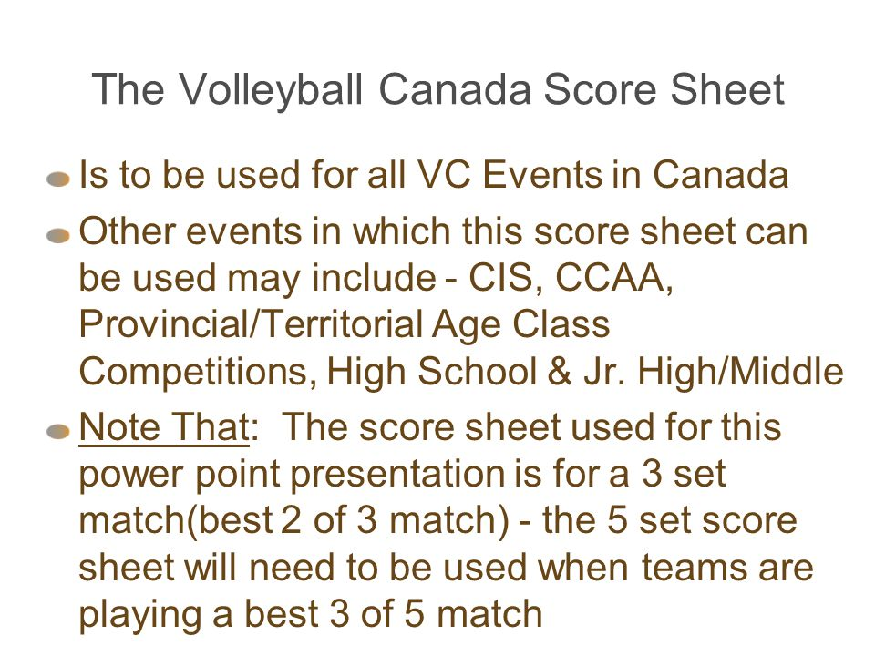 The Volleyball Canada Score Sheet