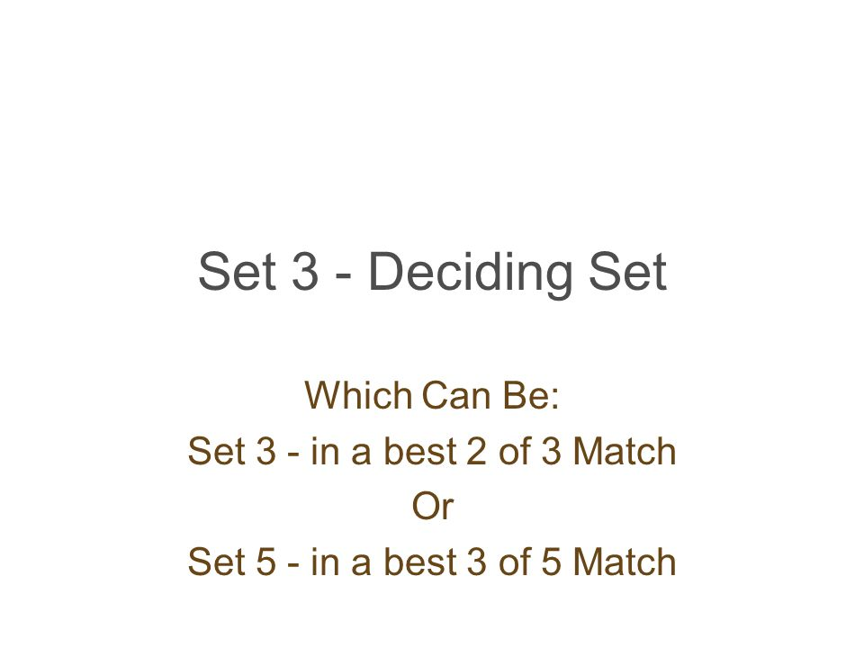 Set 3 - Deciding Set Which Can Be: Set 3 - in a best 2 of 3 Match Or