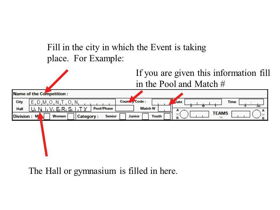 Fill in the city in which the Event is taking place. For Example: