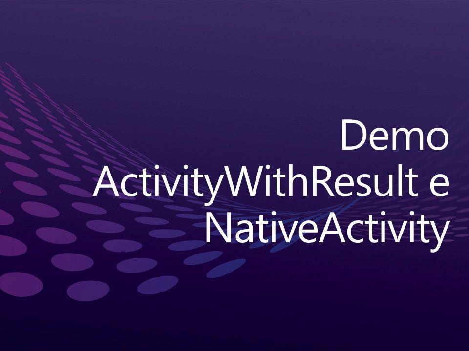 Demo ActivityWithResult e NativeActivity
