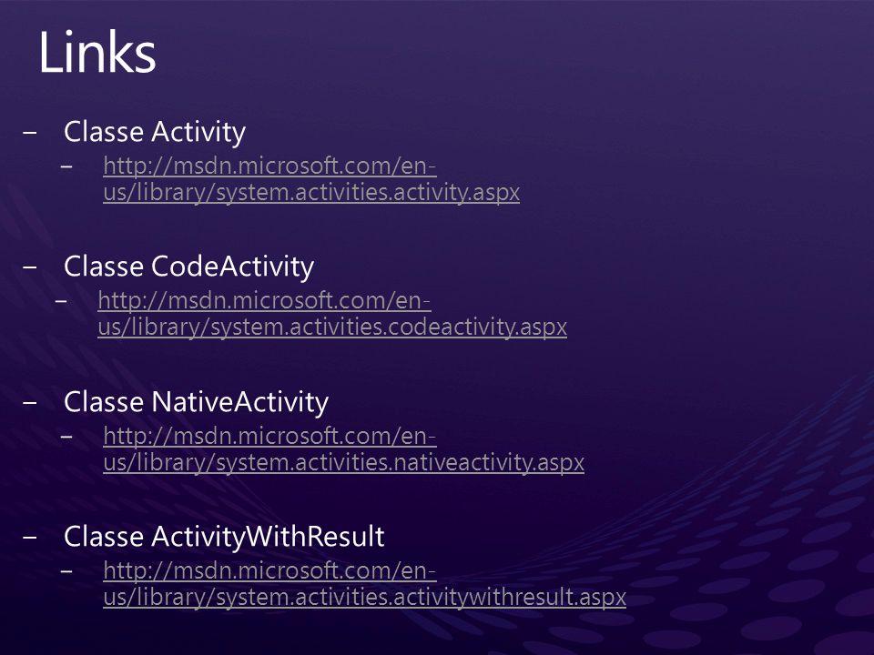 Links Classe Activity Classe CodeActivity Classe NativeActivity