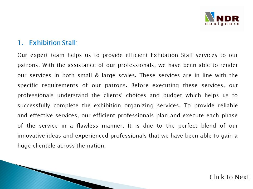Exhibition Stall: Click to Next