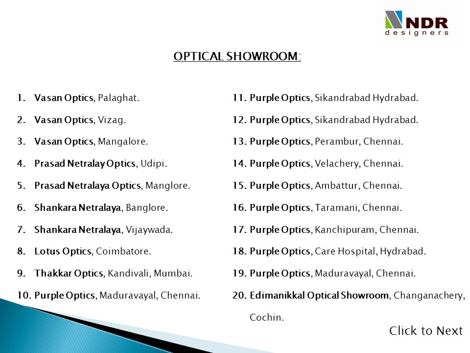 OPTICAL SHOWROOM: Click to Next Vasan Optics, Palaghat.
