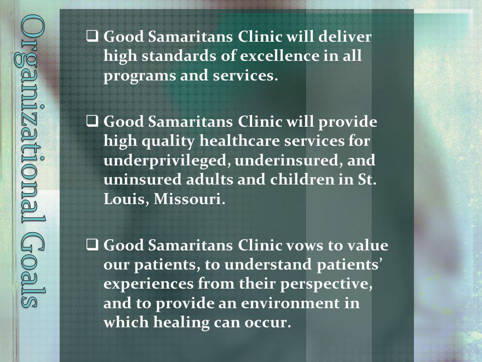 Organizational Goals Good Samaritans Clinic will deliver high standards of excellence in all programs and services.