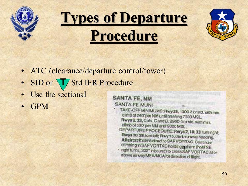 Types of Departure Procedure