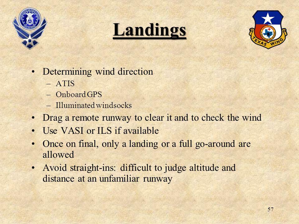 Landings Determining wind direction