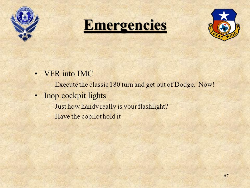 Emergencies VFR into IMC Inop cockpit lights