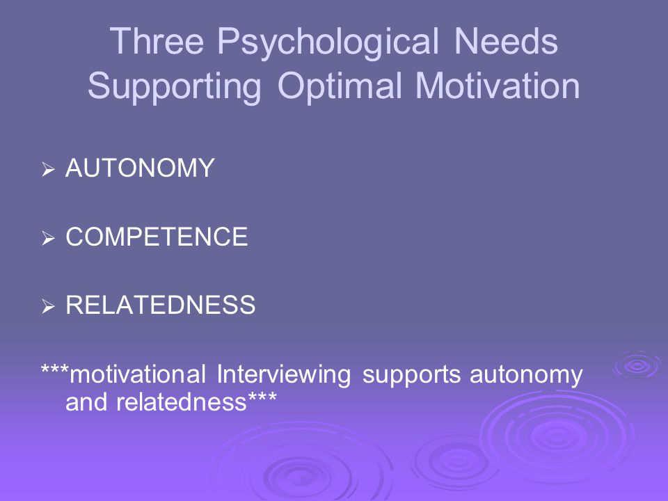 Three Psychological Needs Supporting Optimal Motivation