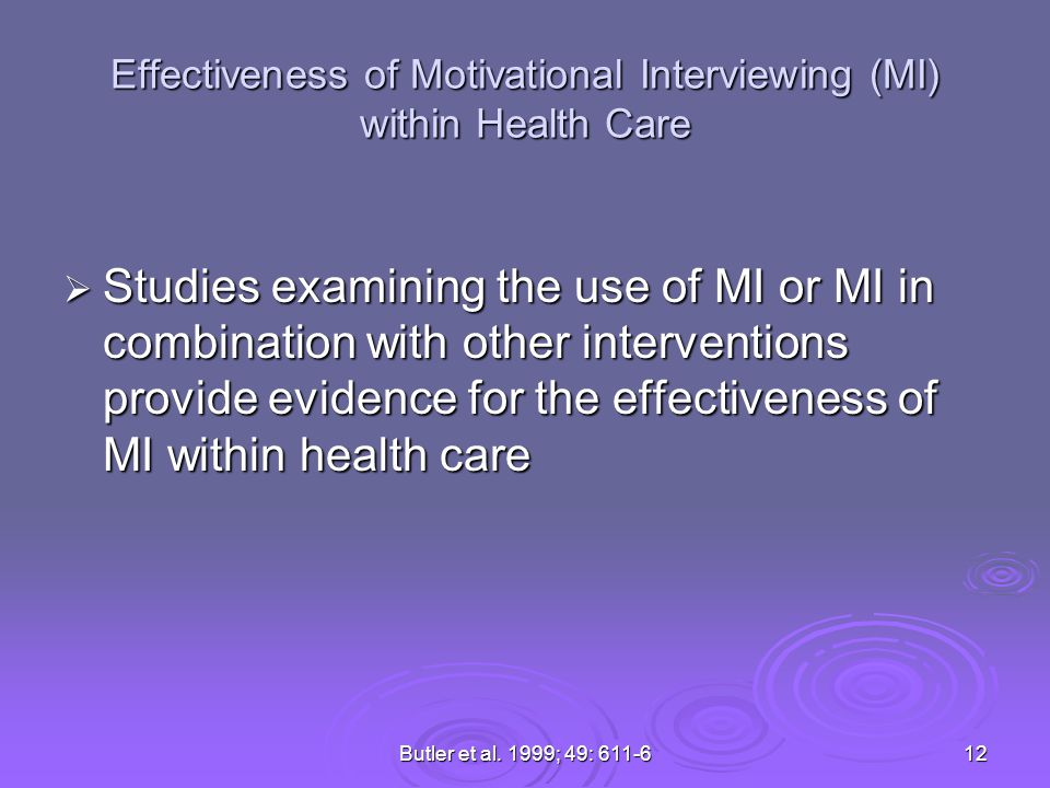 Effectiveness of Motivational Interviewing (MI) within Health Care