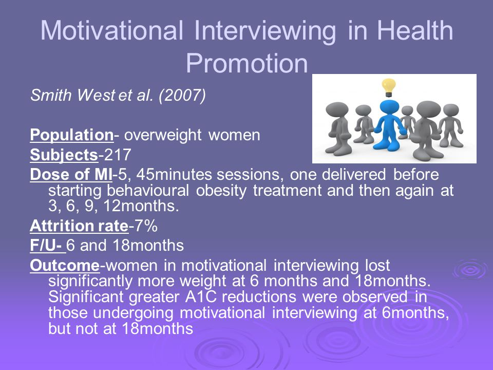 Motivational Interviewing in Health Promotion