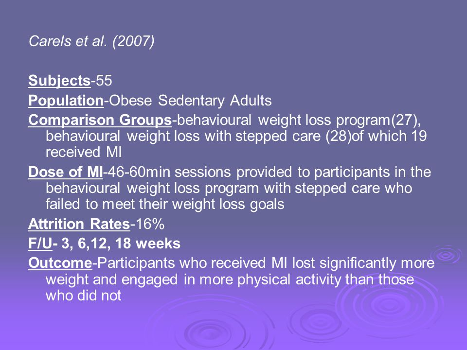 Carels et al. (2007) Subjects-55. Population-Obese Sedentary Adults.