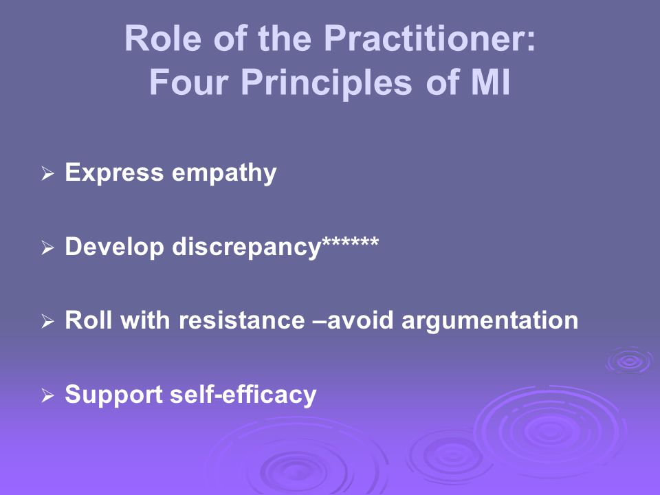 Role of the Practitioner: Four Principles of MI