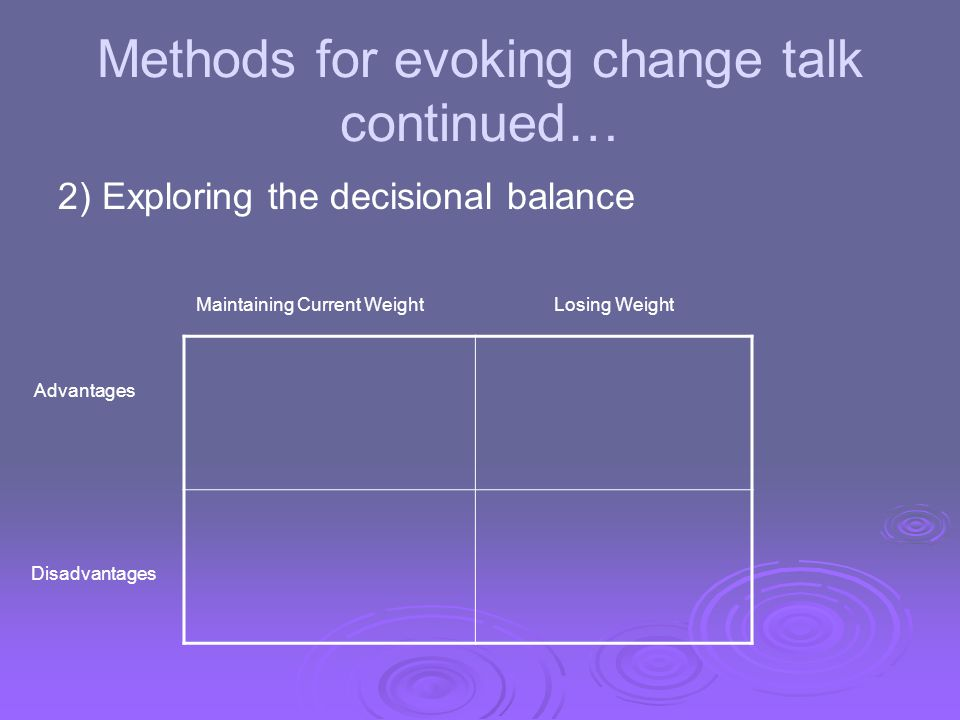 Methods for evoking change talk continued…