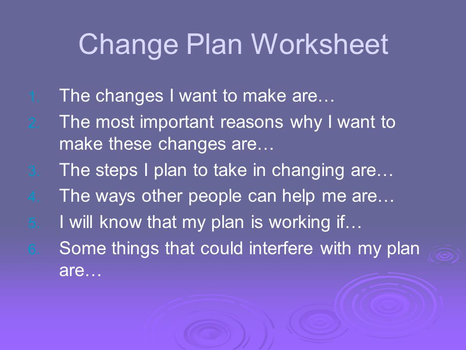 Change Plan Worksheet The changes I want to make are…