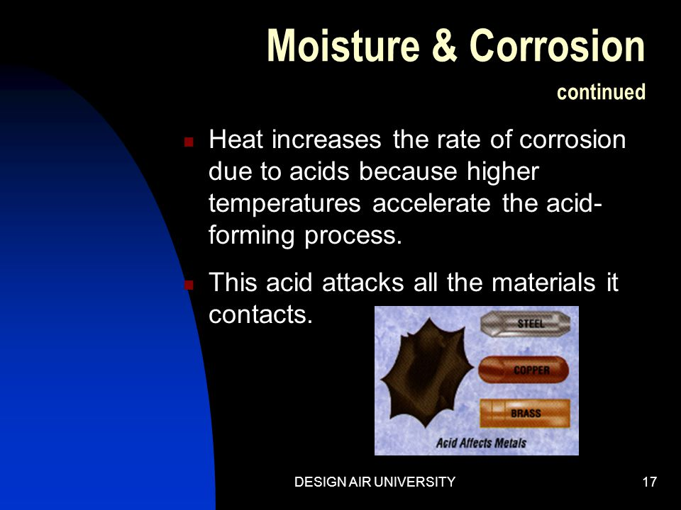 Moisture & Corrosion continued