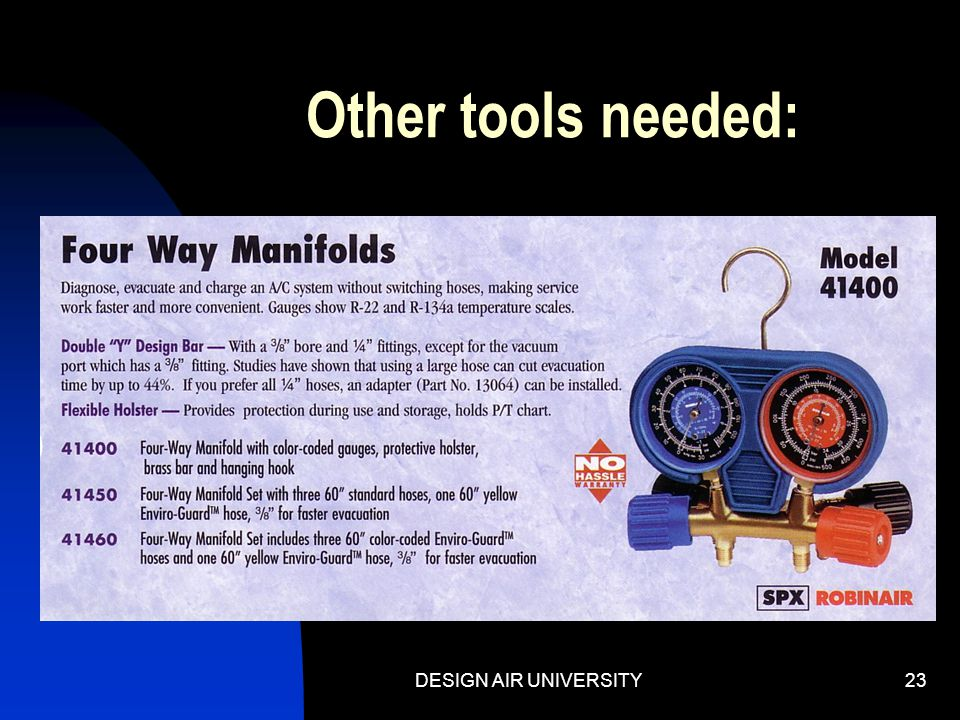 Other tools needed: DESIGN AIR UNIVERSITY